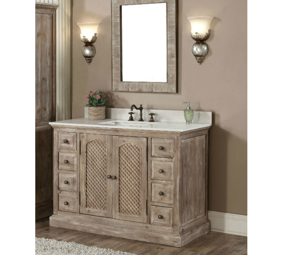 Rustic Bathroom Vanity Set: WK8148-SINK VANITY+WK8179-SIDE CABINET+WK8126-MIRROR
