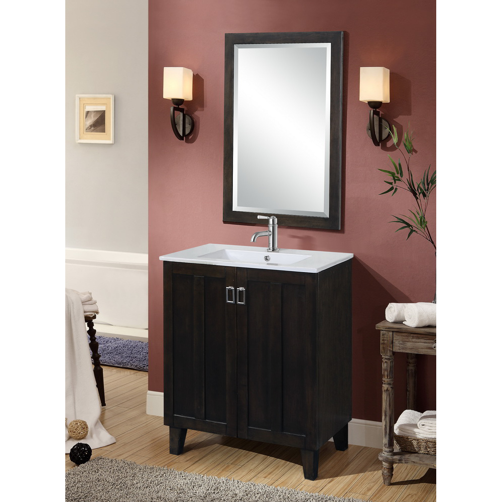 dark brown bathroom mirror in3230 db infurniture vanity furniture 18042 | IN3230 DB set